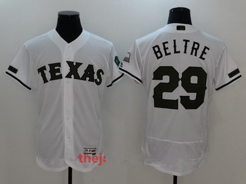 Men's Texas Rangers #29 Adrian Beltre White with Green Memorial Day Stitched MLB Majestic Flex Base Jersey