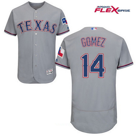 Men's Texas Rangers #14 Carlos Gomez Gray Road Stitched MLB Majestic Flex Base Jersey