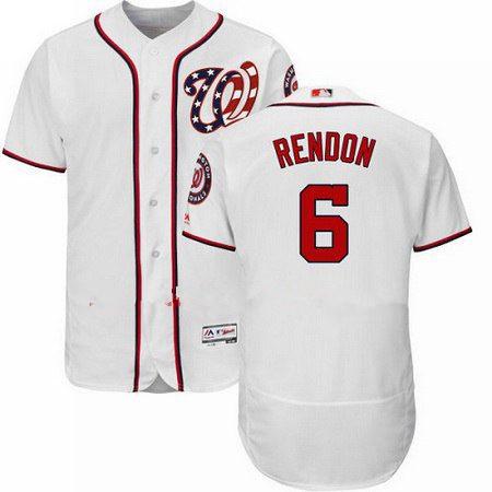 Men's Washington Nationals Flex Base #6 Authentic Anthony Rendon White Majestic MLB 2017 Home