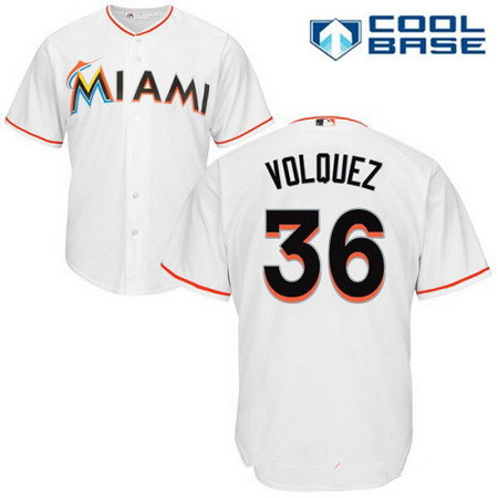Men's Miami Marlins #36 Edinson Volquez White Home Stitched MLB Majestic Cool Base Jersey