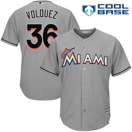 Men's Miami Marlins #36 Edinson Volquez Gray Road Stitched MLB Majestic Cool Base Jersey