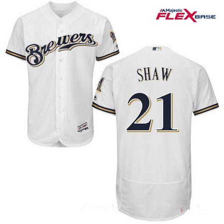 Men's Milwaukee Brewers #21 Travis Shaw All White Stitched MLB Majestic Flex Base Jersey