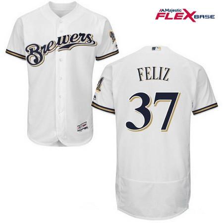 Men's Milwaukee Brewers #37 Neftali Feliz All White Stitched MLB Majestic Flex Base Jersey