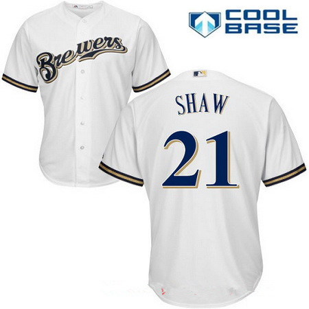 Men's Milwaukee Brewers #21 Travis Shaw All White Stitched MLB Majestic Cool Base Jersey