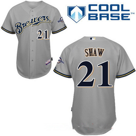Men's Milwaukee Brewers #21 Travis Shaw Gray Road Stitched MLB Majestic Cool Base Jersey