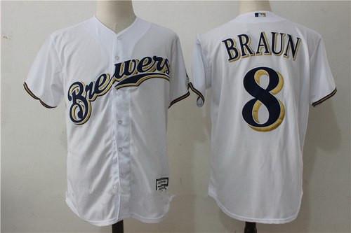 Men's Milwaukee Brewers #8 Ryan Braun White Home Stitched MLB Majestic Cool Base Jerse