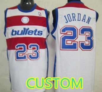 Custom Washington Bullets White Swingman Throwback Jersey
