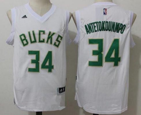 Men's Milwaukee Bucks #34 Giannis Antetokounmpo All White Stitched NBA adidas Revolution 30 Swingman Jersey