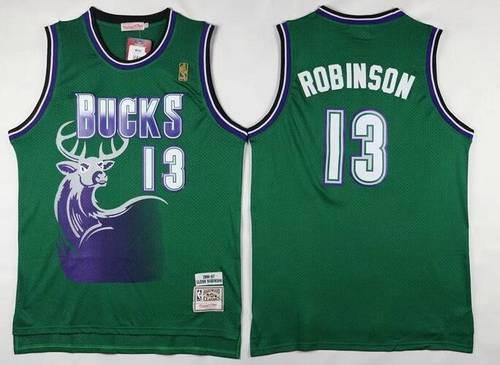 Men's Milwaukee Bucks #13 Glenn Robinson Green Hardwood Classics Soul Swingman Throwback Jersey