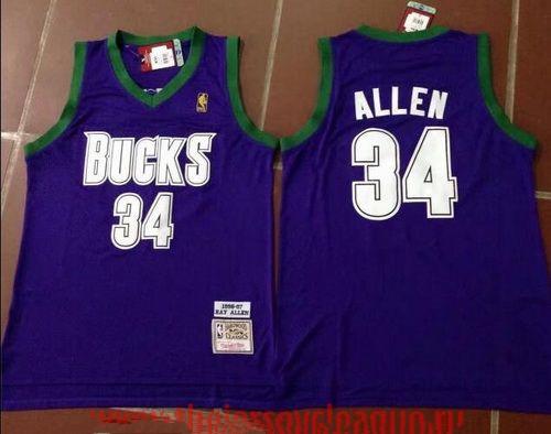 Men's Milwaukee Bucks #34 Ray Allen Purple Hardwood Classics Soul Swingman Throwback Jersey