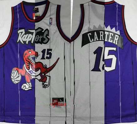 Men's Toronto Raptors #15 Vince Carter Purple White Two Tone Stitched NBA Hardwood Classic Swingman Jersey