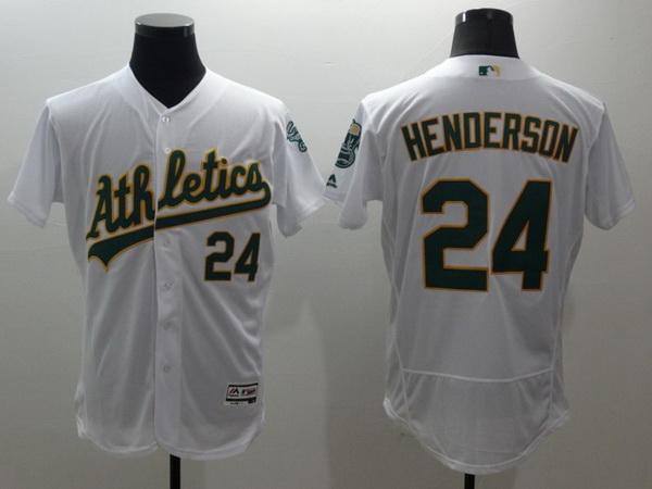Men's Oakland Athletics #24 Rickey Henderson White Flex Base 2016 MLB Retired Player Baseball Jersey