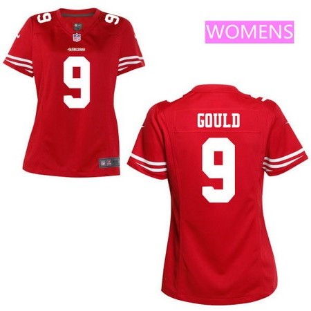 Women's San Francisco 49ers #9 Robbie Gould Scarlet Red Team Color Stitched NFL Nike Game Jersey