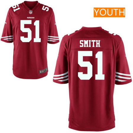 Youth San Francisco 49ers #51 Malcolm Smith Scarlet Red Team Color Stitched NFL Nike Game Jersey
