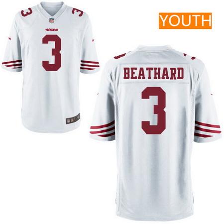 Youth 2017 NFL Draft San Francisco 49ers #3 C. J. Beathard White Road Stitched NFL Nike Game Jersey