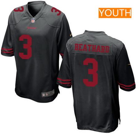 Youth 2017 NFL Draft San Francisco 49ers #3 C. J. Beathard Black Alternate Stitched NFL Nike Game Jersey