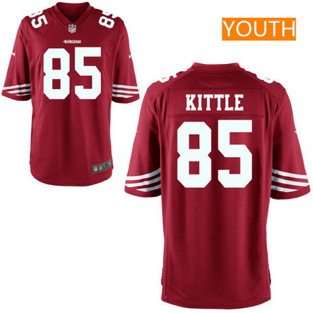 Youth 2017 NFL Draft San Francisco 49ers #85 George Kittle Scarlet Red Team Color Stitched NFL Nike Game Jersey