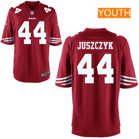 Youth San Francisco 49ers #44 Kyle Juszczyk Scarlet Red Team Color Stitched NFL Nike Game Jersey