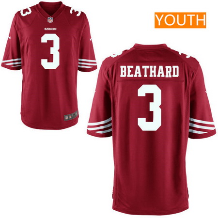 Youth 2017 NFL Draft San Francisco 49ers #3 C. J. Beathard Scarlet Red Team Color Stitched NFL Nike Game Jersey