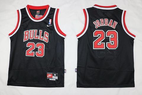 Youth Chicago Bulls #23 Michael Jordan Black With Bulls Jersey
