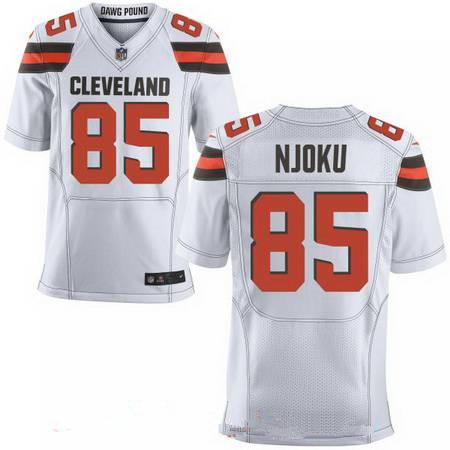 Men's 2017 NFL Draft Cleveland Browns #85 David Njoku White Road Stitched NFL Nike Elite Jersey