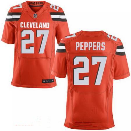 Men's 2017 NFL Draft Cleveland Browns #27 Jabrill Peppers Orange Alternate Stitched NFL Nike Elite Jersey