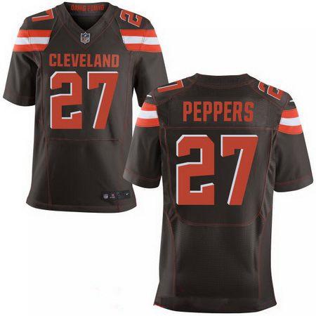 Men's 2017 NFL Draft Cleveland Browns #27 Jabrill Peppers Brown Team Color Stitched NFL Nike Elite Jersey
