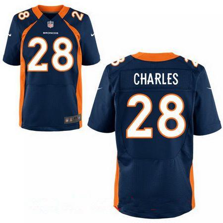 Men's Denver Broncos #28 Jamaal Charles Navy Blue Alternate Stitched NFL Nike Elite Jersey