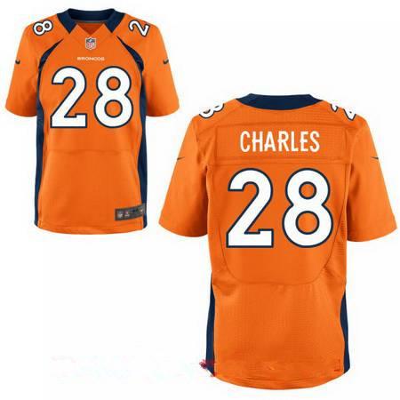 Men's Denver Broncos #28 Jamaal Charles Orange Team Color Stitched NFL Nike Elite Jersey