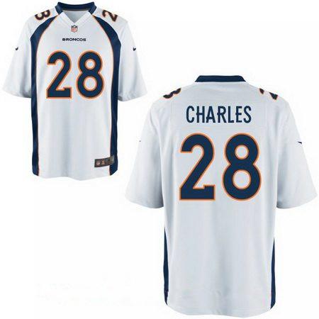 Men's Denver Broncos #28 Jamaal Charles White Road Stitched NFL Nike Elite Jersey