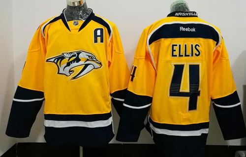 Men's Nashville Predators #4 Ryan Ellis Yellow Stitched NHL Reebok Hockey Jersey