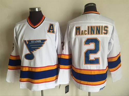 Men's St. Louis Blues #2 Al MacInnis 1998-99 White CCM Vintage Throwback Jersey
