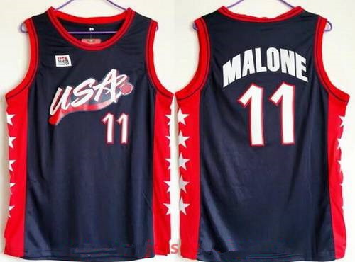 1996 Olympics Team USA Men's #11 Karl Malone Navy Blue Stitched Basketball Swingman Jersey