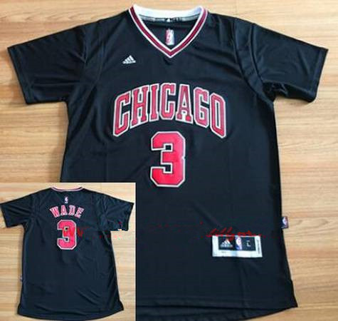Men's Chicago Bulls #3 Dwyane Wade New Black Short-Sleeved Stitched NBA Adidas Swingman Jersey