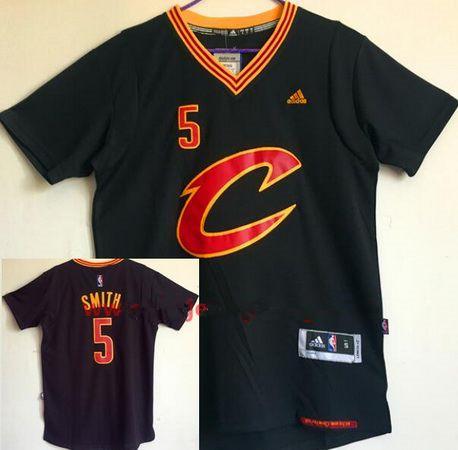 Men's Cleveland Cavaliers #5 J.R. Smith New Black Short-Sleeved adidas Revolution 30 Swingman Stitched NBA Jersey