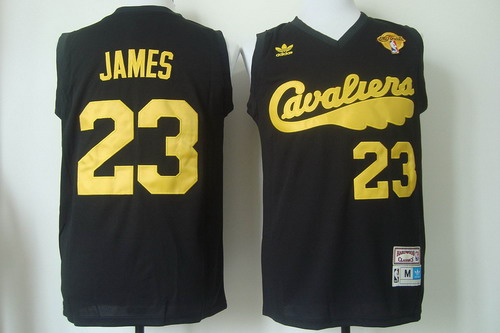 Men's Cleveland Cavaliers #23 LeBron James 2017 The NBA Finals Patch 2009 Black Hardwood Classics Soul Swingman Throwback Jersey
