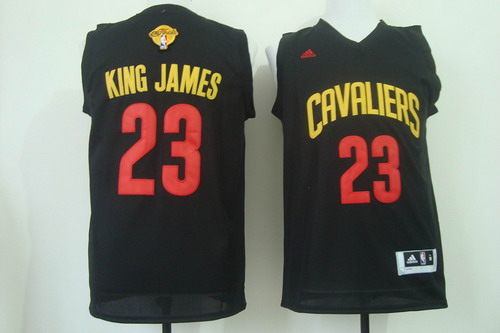 Men's Cleveland Cavaliers #23 King James Nickname 2017 The NBA Finals Patch Black Fashion Jersey