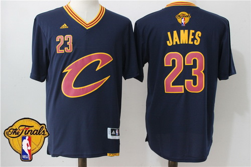 Men's Cleveland Cavaliers LeBron James #23 2017 The NBA Finals Patch New Navy Blue Short-Sleeved Jersey