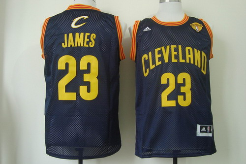 Men's Cleveland Cavaliers #23 LeBron James 2017 The NBA Finals Patch Navy Blue With Gold Swingman Jersey