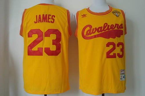 Men's Cleveland Cavaliers #23 LeBron James 2017 The NBA Finals Patch 2009 Yellow Hardwood Classics Soul Swingman Throwback Jersey
