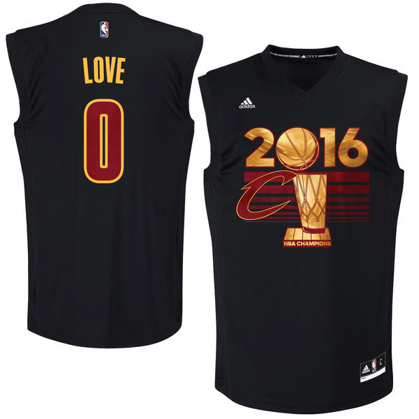 Men's Cleveland Cavaliers Kevin Love #0 adidas Black 2017 NBA Finals Patch Champions Jersey-Printed Style