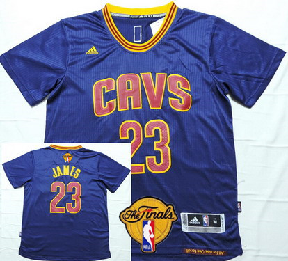 Men's Cleveland Cavaliers #23 LeBron James 2017 The NBA Finals Patch Navy Blue Short-Sleeved Jersey