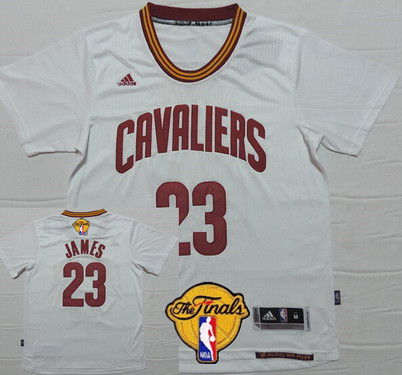 Men's Cleveland Cavaliers #23 LeBron James 2017 The NBA Finals Patch White Short-Sleeved Jersey