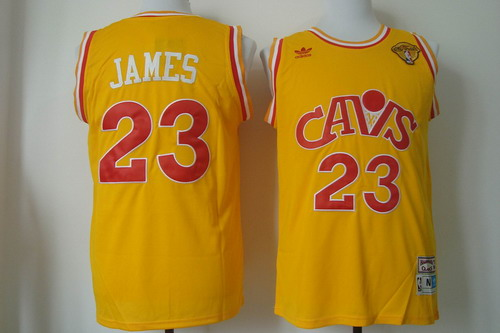 Men's Cleveland Cavaliers #23 LeBron James 2017 The NBA Finals Patch CavFanatic Yellow Hardwood Classics Soul Swingman Throwback Jersey