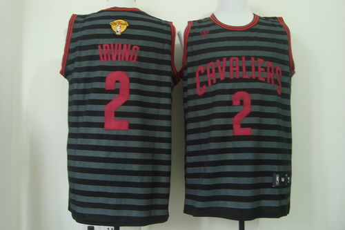Men's Cleveland Cavaliers #2 Kyrie Irving 2017 The NBA Finals Patch Gray With Black Pinstripe Jersey