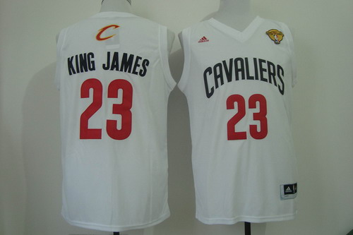 Men's Cleveland Cavaliers #23 King James Nickname 2017 The NBA Finals Patch White Fashion Jersey