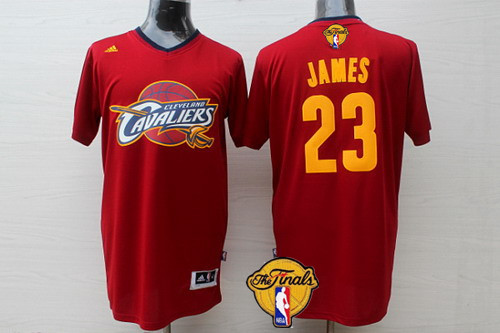 Men's Cleveland Cavaliers #23 LeBron James 2017 The NBA Finals Patch Red Short-Sleeved Jersey