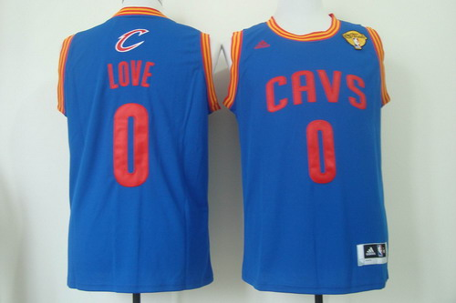 Men's Cleveland Cavaliers #0 Kevin Love 2017 The NBA Finals Patch Light Blue Swingman Jersey