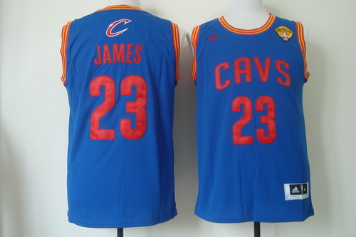 Men's Cleveland Cavaliers #23 LeBron James 2017 The NBA Finals Patch Light Blue Swingman Jersey