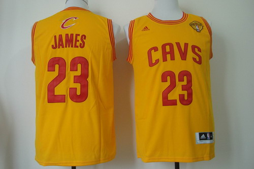 Men's Cleveland Cavaliers #23 LeBron James 2017 The NBA Finals Patch Yellow Swingman Jersey